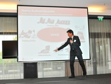 Michael Ott, Distributionsmanager, Polycom (Germany) GmbH speaks at the ViDOFON Conferencing & Seaport Day 2010