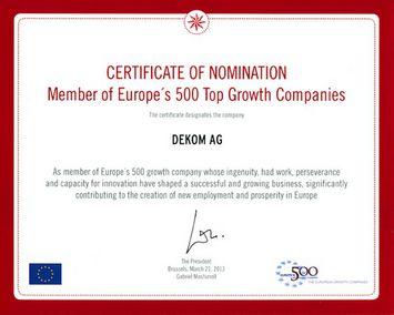 Europe's 500 Top Growth Companies certificate