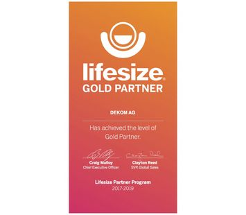 Lifesize Gold Partner certificate