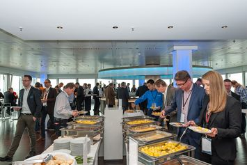 Visitors enjoying the buffet at DEKOM Conferencing & Seaport Day 2014