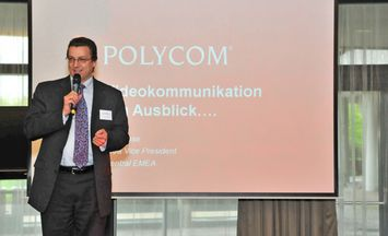Kay Ohse, Area Sales Vice President, Polycom (Germany) GmbH speaks at the ViDOFON Conferencing & Seaport Day 2010