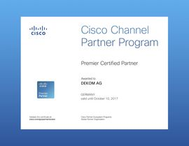 Cisco Premier Partner certificate