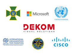 Logos of DEKOM, Microsoft, Cisco, United Nations, SMS and IOM of Ukraine