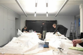 Timelapse of a conferencing room installation