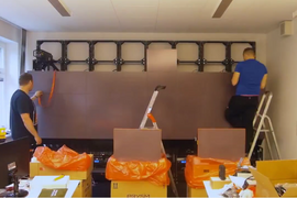 Timelapse video of a Prysm wall installation process
