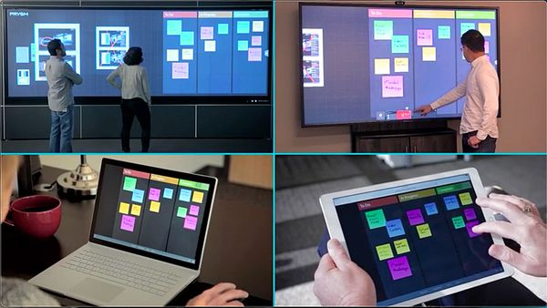 Prysm Visual Workplace on 4 devices